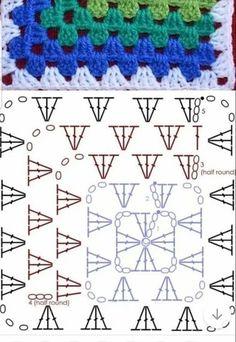 Crochet Bedspread Pattern, Granny Square Crochet Pattern, Crochet Stitches Patterns, Crochet Diagram, Crochet Chart, Crochet Squares, Crochet Motif, Crochet Flower Tutorial, Crochet Bunny