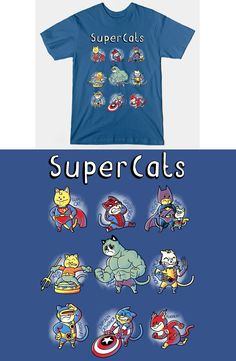 Superhero Cats T Shirt |  I always knew cats were a superior race. This funny design features many cats with super powers, including Spider Cat, Grumpy Hulk, Flash Cat and more! | Visit http://shirtminion.com/2015/05/superhero-cats-t-shirt/