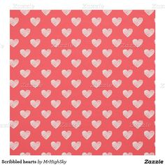 Scribbled hearts fabric