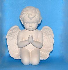 Ceramic Ready to Paint Cherub Kneeling - 9.5 inches, Unpainted ceramic bisque