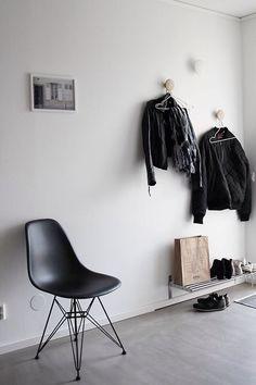 simple entry way features - coat hangers & shoe storage