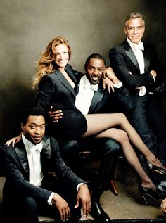 Vanity Fair, The 2014 Hollywood Issue: Chiwetel Ejiofor, Julia Roberts, Idris Elba & George Clooney ~ Photo by Annie Leibovitz Annie Leibovitz Fotos, Anne Leibovitz, Annie Leibovitz Photography, Julia Roberts, Vanity Fair Hollywood Issue, Shooting Studio, George Clooney, Photography Poses, Photography Projects