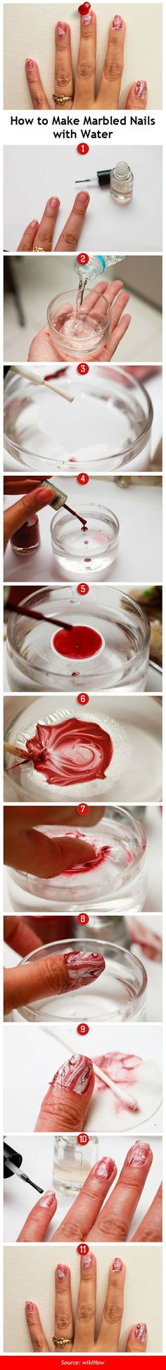 wikiHow to Create a Marble Nail Effect Using Water -- via wikiHow.com #nails