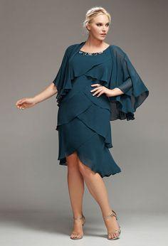 Teal Tiered Jewel Jacket Dress
