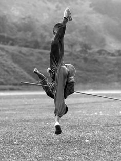 The Chinese martial art kung fu. A black & white photo. #bostaff #martialArts
