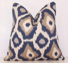 Indigo PILLOW COVER,Navy Pillow,16 x 16, 18 x 18, 20 x 20,Sham,Lumbar, Indigo Blue, Indigo and linen,Animal Print
