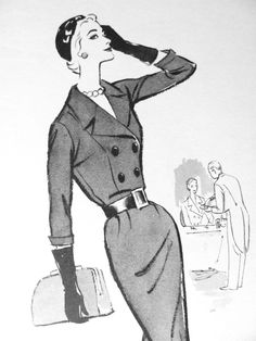 1950s Fashion Illustration by Viola French @ Pintuckstyle