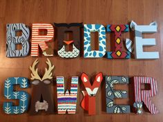 Custom Nursery Letters, Woodland Baby Name, Forest Animals, Aztec Print, Arrows by LautzOfLove on Etsy https://www.etsy.com/listing/244819410/custom-nursery-letters-woodland-baby