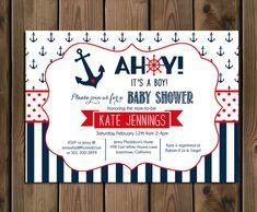 Náutica bebé ducha invitación Ahoy su A muchacho azul