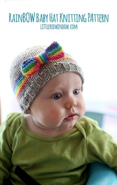 Knit your little one a sweet RainBOW baby hat including rainbow band and bow with this adorable FREE pattern!