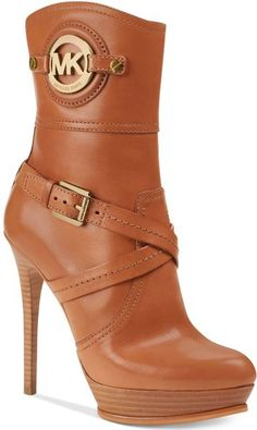 Michael Kors Stockard Booties in Brown (Luggage) | Lyst