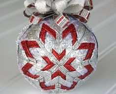 Red and Silver Quilted Christmas Ornament  by YouniqueOrnaments
