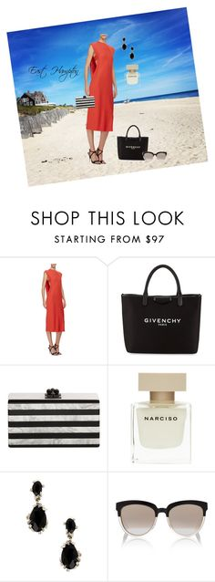 """East Hampton - dinner at the Palmer's"" by cherithreadgill ❤ liked on Polyvore featuring Narciso Rodriguez, Givenchy, Edie Parker, Alexis Bittar and Christian Dior"