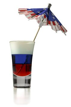 of JULY Red, White, and Blue Cocktail with Grenadine, Peach Schnapps or Vodka & Blue Curacao:) Party Drinks, Fun Drinks, Alcoholic Drinks, Beverages, Blue Curacao, 4th Of July Celebration, Fourth Of July, Vodka Blue, Blue Shots