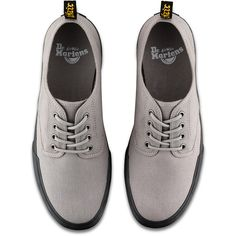 Dr. Martens Canvas Pressler Shoes (867.100 IDR) ❤ liked on Polyvore featuring shoes, grey, striped shoes, light weight shoes, grey shoes, canvas sneakers shoes and canvas shoes