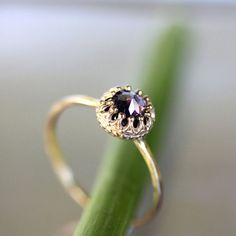 Rose Cut Purple Sapphire In 14K Yellow Gold Engagement Ring - Ready To Ship on Etsy, $380.00