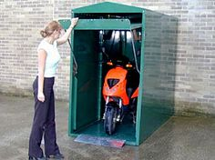 Motorcycle MK Bike Store - Motorbike Storage - M&K Shelving and Storage - Suppliers of quality shelving and storage solutions to the south west of the UK Motorbike Shed, Motorcycle Storage Shed, Motorcycle Garage, Motorcycle Shed Ideas, Motorcycle Touring, Shed Storage, Garage Storage, Small Storage, Scooter Garage