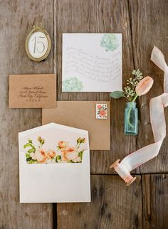 Aqua and apricot  - lovely together on this wedding stationery. // Via Joy Proctor Design.