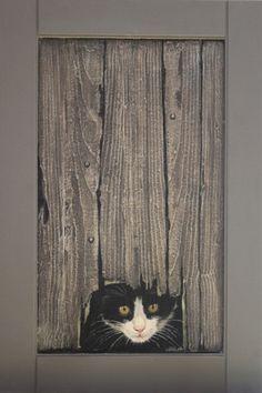Trompe l'oeil 2 (Painting), cm by Elisabeth BEGOT Trompe l'oeil sur bois Art Encadrée, Art Sur Toile, Image Deco, Wood Pallet Art, Fence Art, Art Original, Creative Artwork, Painted Doors, Wildlife Art