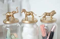 A gold animal jar diy tutorial perfect for storing your beauty items and recycle your old jars and tins. Uses simple materials and very quick.