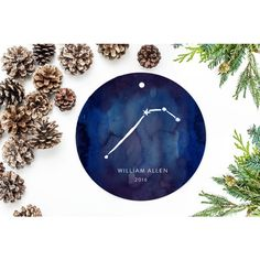 Zodiac Sign Christmas Ornament Stars Astrology Gift Aries (33 BAM) ❤ liked on Polyvore featuring home, home decor, holiday decorations, grey, home & living, home décor, ornaments & accents, star ornaments, gray wrapping paper and personalized ornaments