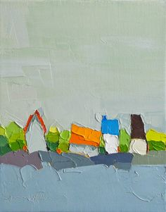 Blue Edge Oil Painting 8x10 On Canvas Original Farm by DonnaWalker