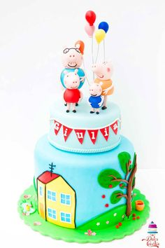 Peppa Pig cake with her family George Pig Party, Peppa Pig, Creative Cakes, Fondant, Cake Decorating, Christmas Crafts, Desserts, Pig Cakes, Food