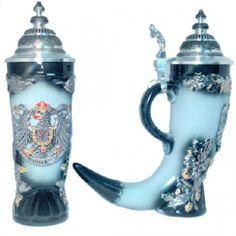 Zoeller & Born Painted Pewter Eagle Black German Horn Beer Stein, drinking will never be the same!