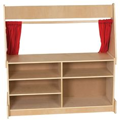 "All the world's a stage for little performers with this sturdy and fun Puppet Theater. Great for playtime; theater includes stage curtains, with marquee board above and presentation board below the ""stage."" Choose either Flannel or Dry-Erase boards. Made from birch hardwood."