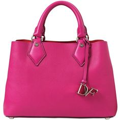 Diane Von Furstenberg Women Small Voyage Leather Tote Bag (1.625 RON) ❤ liked on Polyvore featuring bags, handbags, tote bags, fuchsia, pink leather handbag, pink handbags, pink tote bag, pink leather tote and leather handbag tote