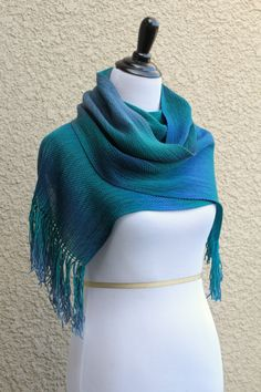 Hand woven long scarа in gradient colors - blue green teal violet with fringe