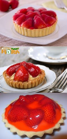 Tortinha de Morango #TortinhadeMorango #Tortinha #Receitatodahora Cooking Time, Cooking Recipes, Cheesecakes, Fruit Tart, Cupcakes, Recipes From Heaven, Dessert Recipes, Desserts, Confectionery
