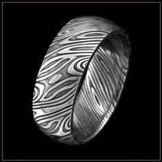 Sea Breeze Damascus Steel Men's Wedding Ring