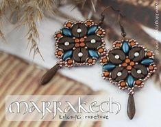 Rozetowe kolczyki z Arcos Minos i IrisDuo O Beads, Earring Tutorial, Jewelry Making Beads, Bead Weaving, Beading Patterns, Jewlery, Drop Earrings, Beaded Earrings, Stone