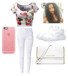 """white and floral outfit"" by keekelovee14 on Polyvore featuring interior, interiors, interior design, home, home decor, interior decorating, MICHAEL Michael Kors and Casetify"