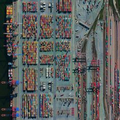 "The Port of Hamburg - known as Germany's ""Gateway to the World"" - is located on the Elbe River in Hamburg. On an average day, the facility is accessed by 28 ships, 200 freight trains, and 5,000 trucks. In total, the port moves 132.3 million tonnes of cargo each year - that's roughly 1/3 of the mass of all living human beings."