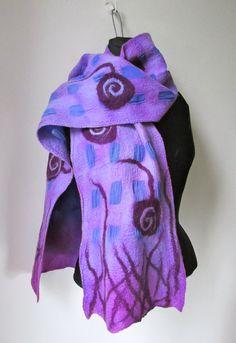 Nuno fieltro bufanda remolinos y vides Purple Style por IonaLoyola