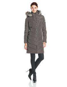 Calvin Klein Women's Mid Length Chevron Down Coat, Titanium, Medium