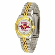 Arkansas Razorbacks UA NCAA Womens 23Kt Gold Watch by SunTime. $134.95. Links Make Watch Adjustable. Officially Licensed Arkansas Razorback Women's Two-Tone Executive Watch. 23kt Gold-Plated Bezel. Women. 2-Tone Stainless Steel Band. The ultimate fans statement our Ladies Executive timepiece offers women a classic business-appropriate look. Features a 23kt gold-plated bezel stainless steel case and date function. Secures to your wrist with a two-tone solid stainless steel b...