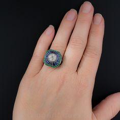 1.85 Carat European-Cut Diamond, Calibre Sapphire and Emerald Art Deco Style Ring - 10-1-6812 - Lang Antiques