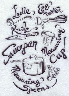 Kitchenware medley machine embroidery design.