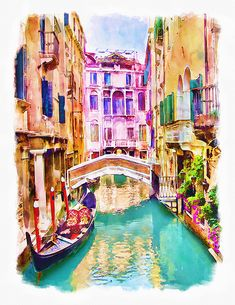 """This x spiral notebook features the artwork """"Venice Canal by Marian Voicu on the cover and includes 120 lined pages for your notes and greatest thoughts. Watercolor Illustration, Watercolor Paintings, Acrylic Paintings, Venice Canals, Notebooks For Sale, City Art, Staycation, Printable Wall Art, Fine Art America"""