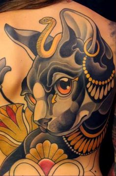 Egyptian gold cat tattoo
