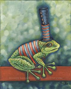 Sir Frances Frogget - ART PRINT of a green Top Hat FROG by Mandy Saile of Bijou's Whimsy. $20.00, via Etsy.