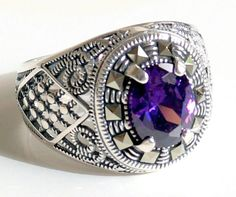 925 STERLING SILVER MEN'S RING WITH AMETHYST #Handmade