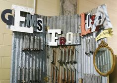 love the corrugated galvanized. would look great with crates too...