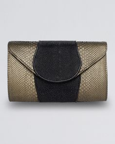 Khirma Eliazov Babo Metallic Python & Stingray Clutch Bag, Copper/Black on shopstyle.com