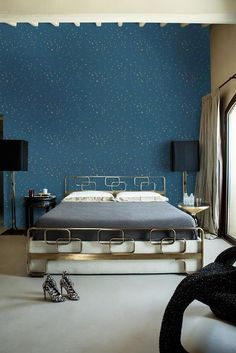 An astronomy theme is incomplete without a custom wallpaper with stars and a mesmerising blue background. Have a specific theme in mind? Consult Atom Interiors to get the perfect design! #Atominteriors #interiordesigners #wallpapers #wallpaperdesigns #wallpapersticker #wallpaperdinding #wallpapermurah #wallpaperdecor #homedecor #walldecor Gold Star Wallpaper, Damask Wallpaper, Nursery Wallpaper, Paper Wallpaper, Print Wallpaper, Custom Wallpaper, Wallpaper Design For Bedroom, Chinoiserie Wallpaper, Blue Wallpapers