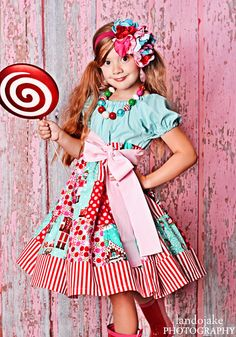 Candy Christmas Patchwork Twirly Dress by LittleWellies