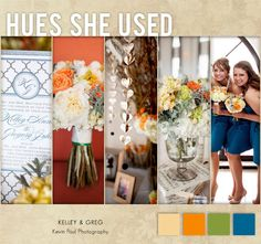 Loving this real Oklahoma wedding with bold hues of orange, olive green, and blue. Photos by @Kevin Paul Photography. #wedding #orange #blue #green
